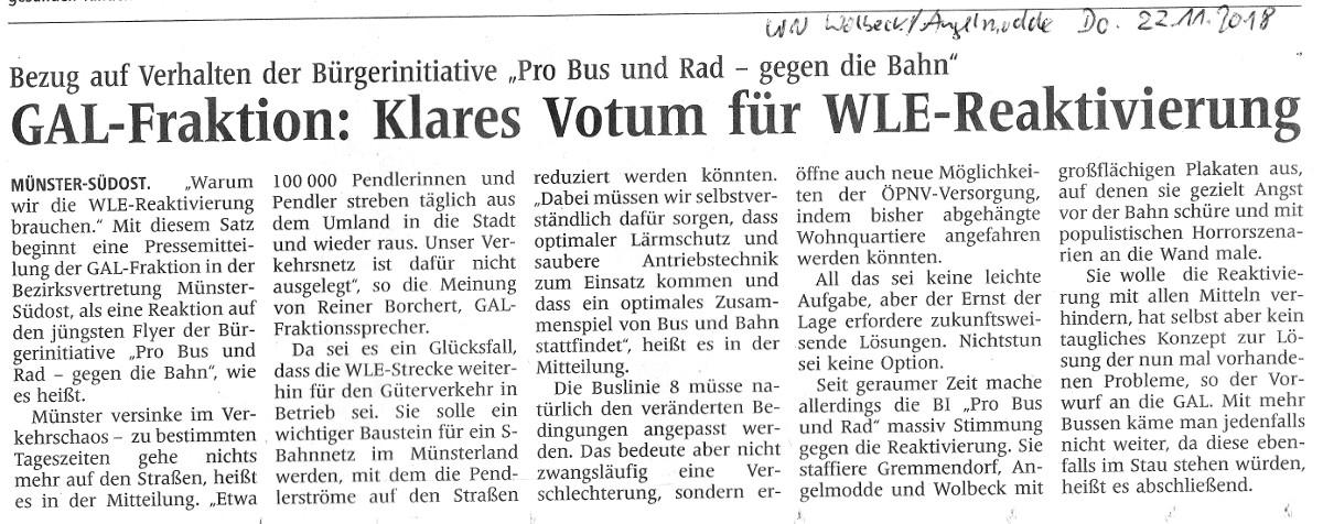 Presseerklärung zur WLE-Reaktivierung